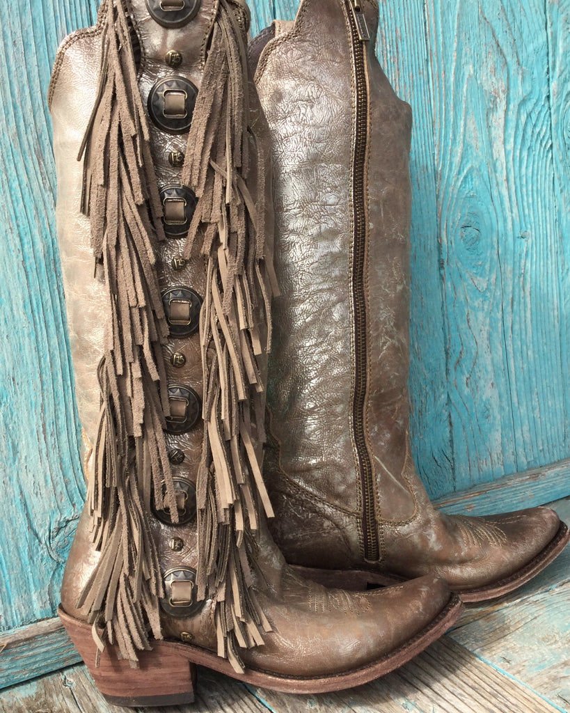 Stonewashed Metallic Tall Fringe Concho Zip Boots