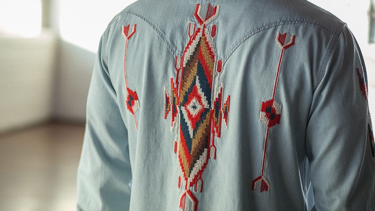 Navajo Embroidered Shirt Indigo Shirt