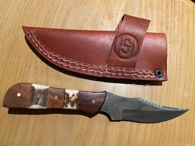 "6.25"" Damascus Mini Staghorn and Wood  Skinner with Sheath"