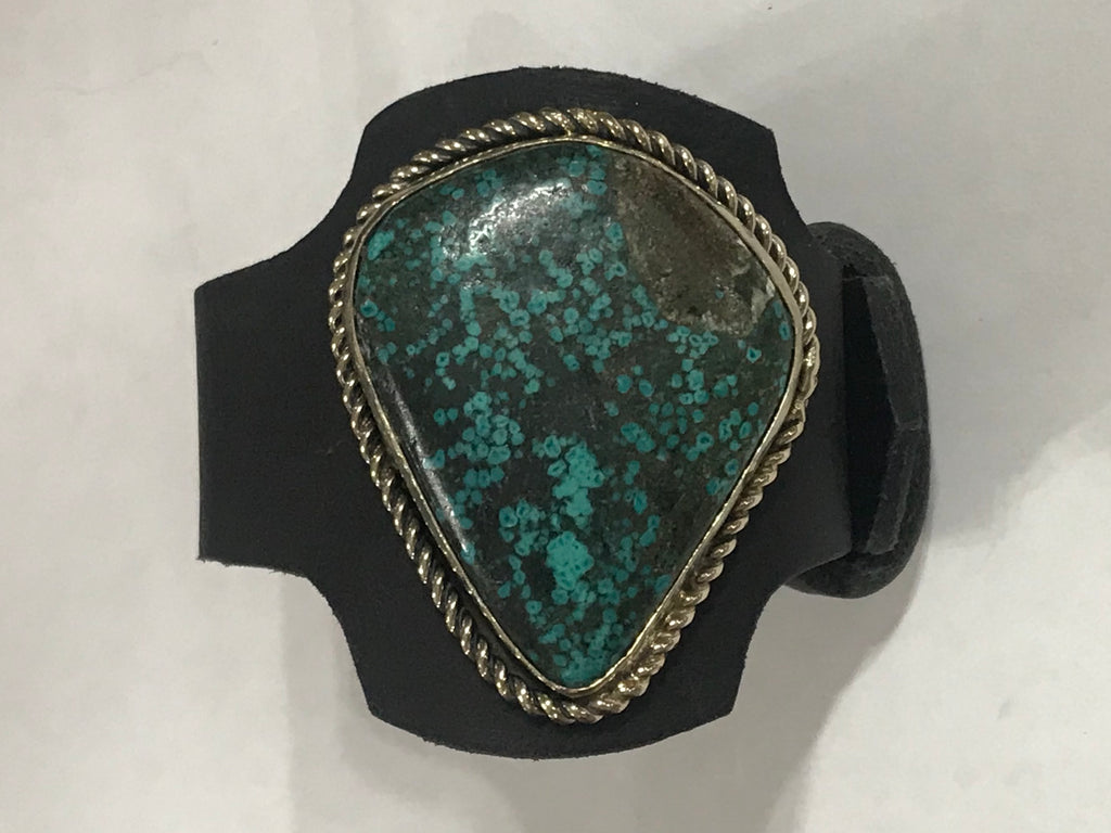 Turquoise Slab Black Leather Bracelet GS 2