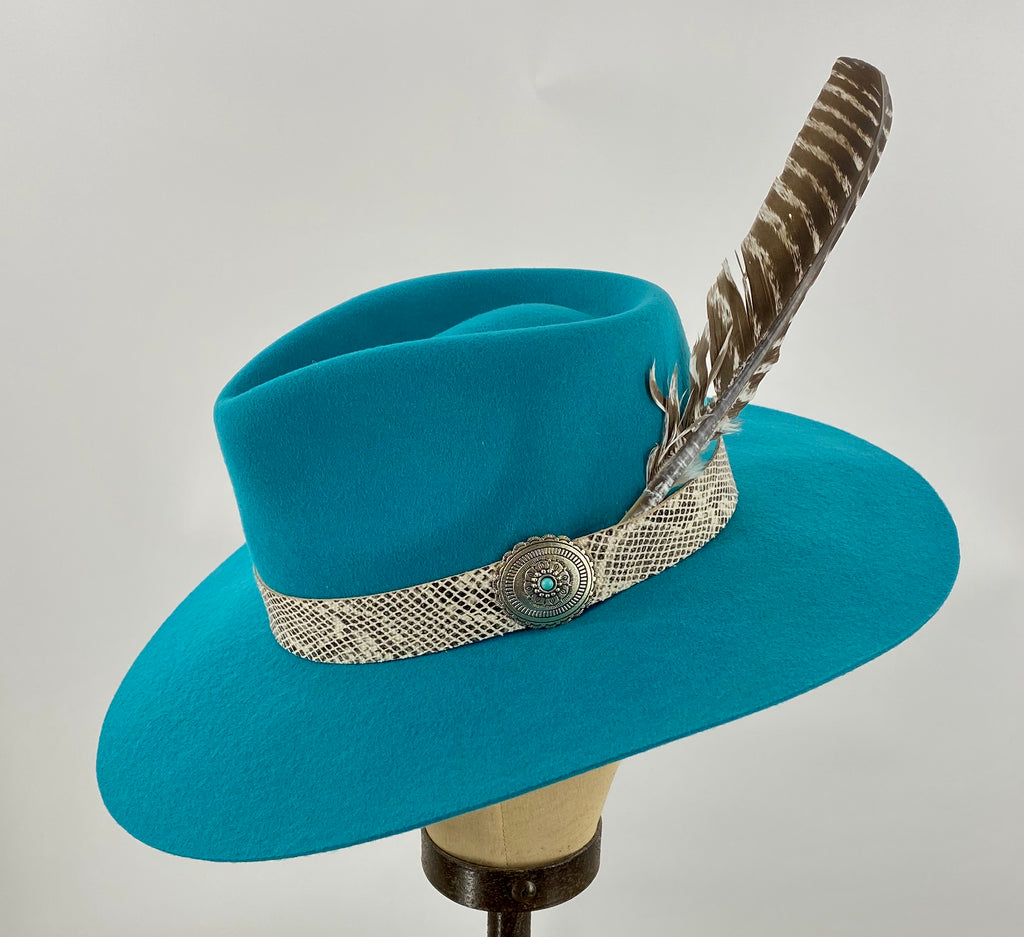 Sidewinder Charlie 1 Horse Hat with Concho Snakeskin Feather 3 Colors!