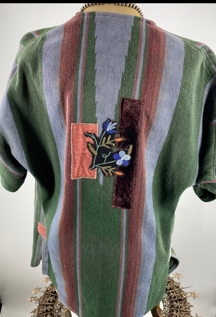 Vintage Serape Over Dyed Fingertip Jacket One of a Kind!