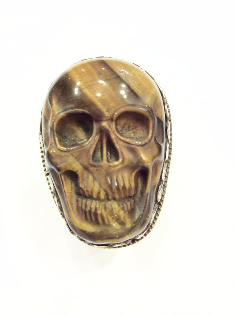Tiger's Eye Skull Ring