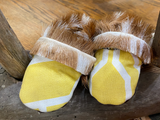 Full Topped Axis Deer Baby Moccasins One of a Kind Yellow/White