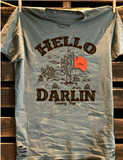 Hello Darlin Distressed Green Tee Shirt