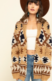Shawl Collared Knit Navajo Print Sweater Cardigan with Pockets!