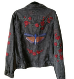 Custom Embroidered Moth Butterfly Red Roses Acid Washed Jean Jacket