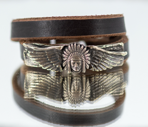 Leather Wrap Bracelet with Skull and Wings