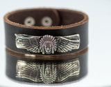 Bronze Indian Chief and Wings on Leather Strap Cuff Bracelet