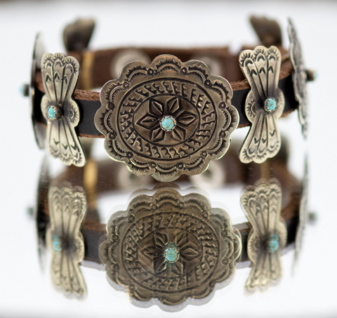 Concho Leather Wrap Bracelet with Turquoise