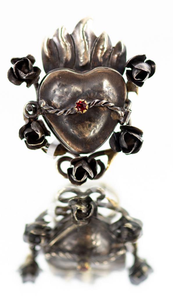 Sacred Heart Poison Locket Ring with Roses