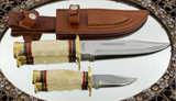 Double Bowie Knife Set in Leather Sheath-Special Price!