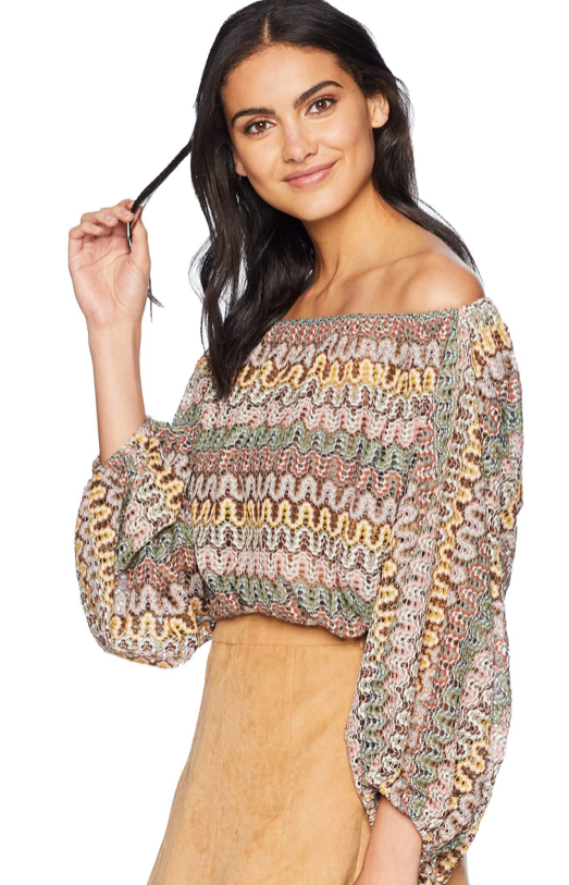 Sunni Crop Off the Shoulder Top - Labyrinth Lace
