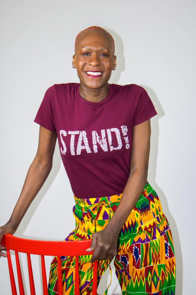 "Women's ""STAND!"" for change t-shirt -Speak! Act! Stand!"
