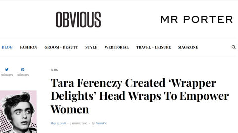 Obvious magazine headwrap mention of Wrapper Delights