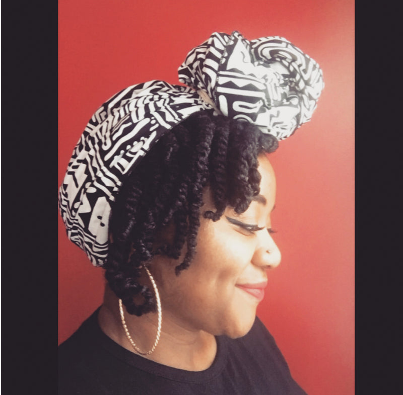 """Black on White"" headwrap"