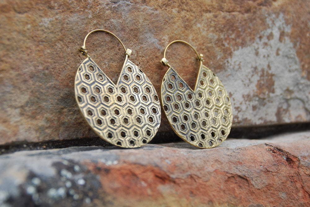 Large Honeycomb Brass Earrings