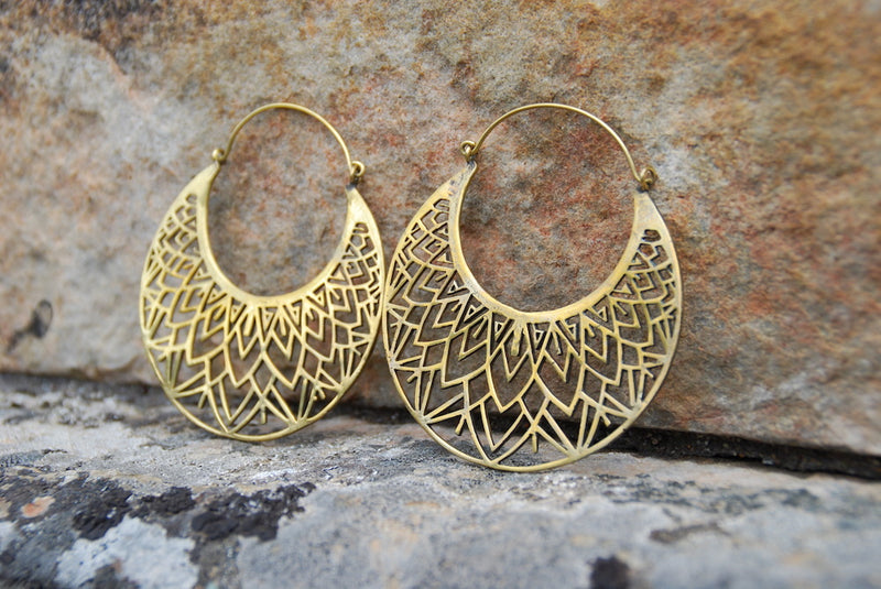 Large Geometric Brass Hoop Earrings