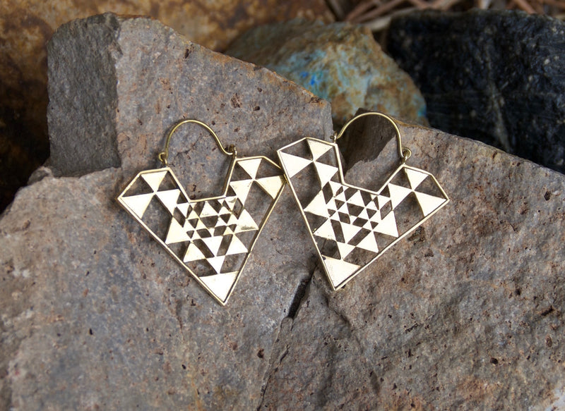 Modern Geo Brass Earrings