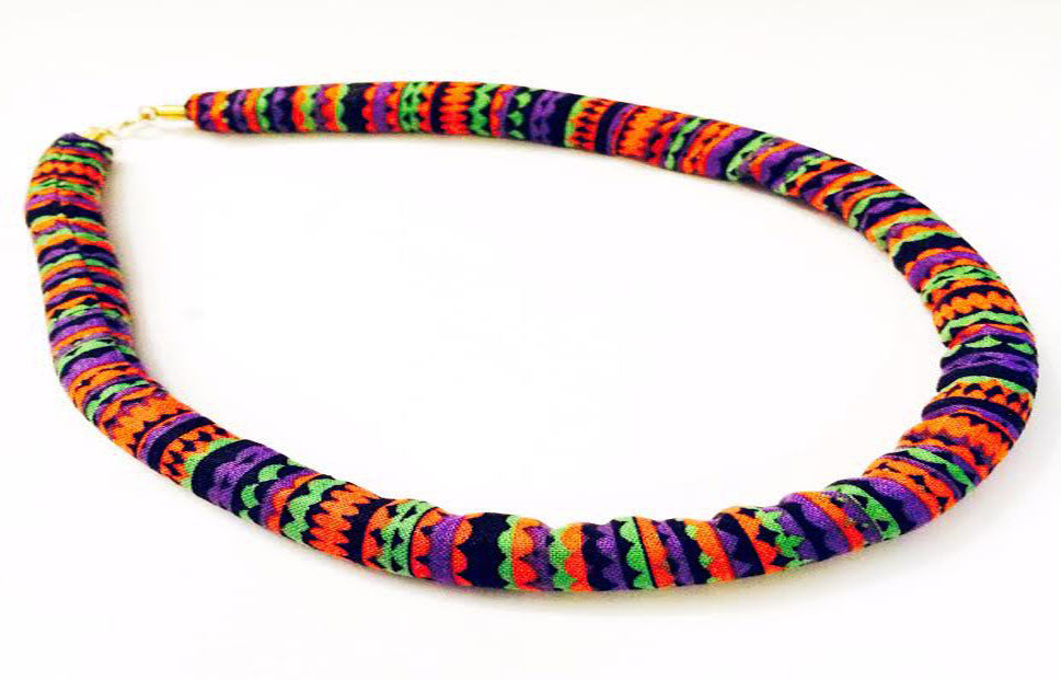 Rainbow Print Fabric Necklace with Copper Accent
