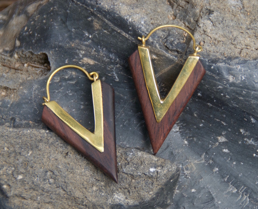 Triangle Wood and Brass Earrings