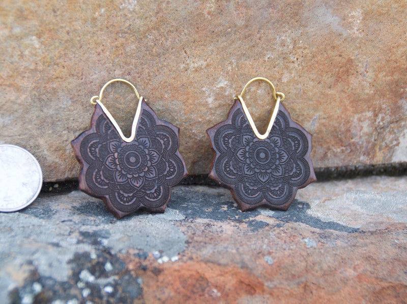 Wooden Lotus Hoop Earrings