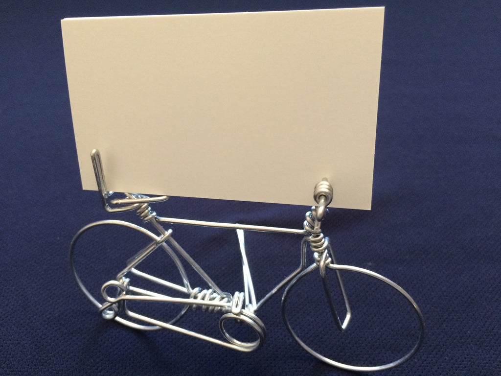 Handmade Creative Bicycle Business Card Holder on Desk