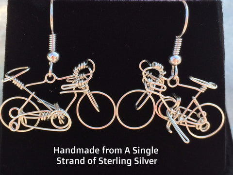 Handmade Bicycle STERLING SILVER Earrings