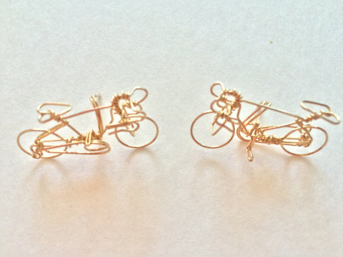 Handmade Bicycle Mens & Women 14K Gold Filled Earrings