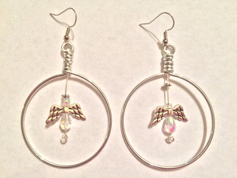Handmade Angel Hoop Dangle Earrings