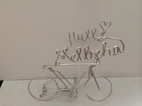 Custom 2 Names with a Heart on Bike