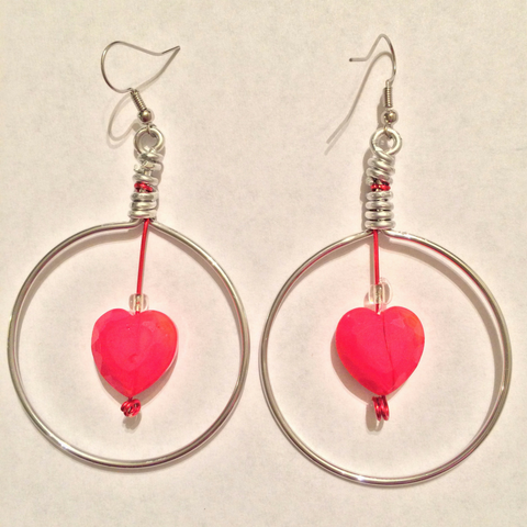 Handmade Heart Hoop Dangle Earrings
