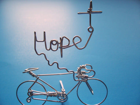 HOPE Bicycle Script Word Art Cross Sign Decor