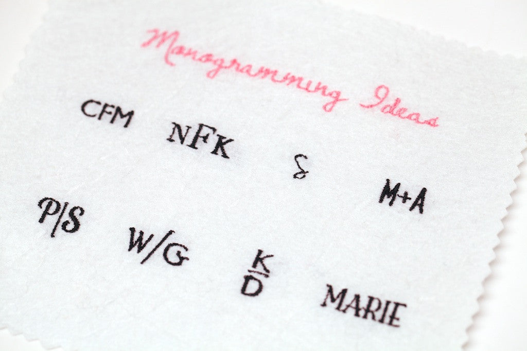 Custom embroidery label personalisation and monogramming for clutches and purses