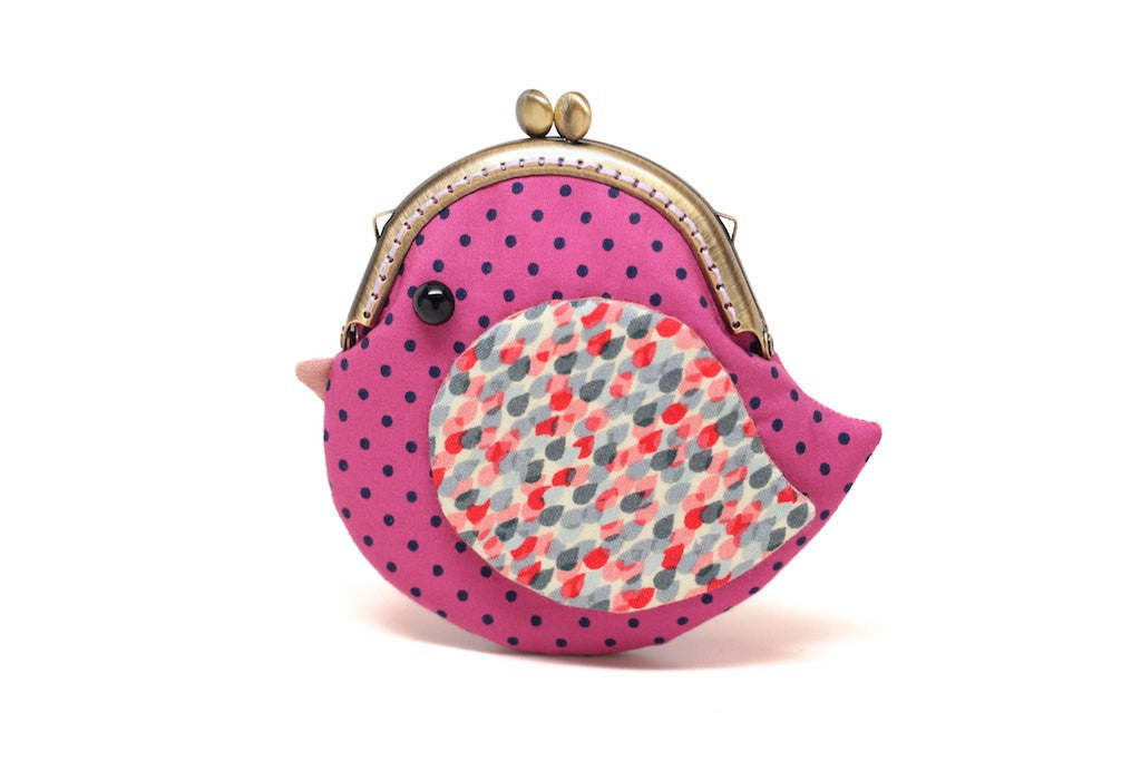 Cute mulberry purple bird clutch purse