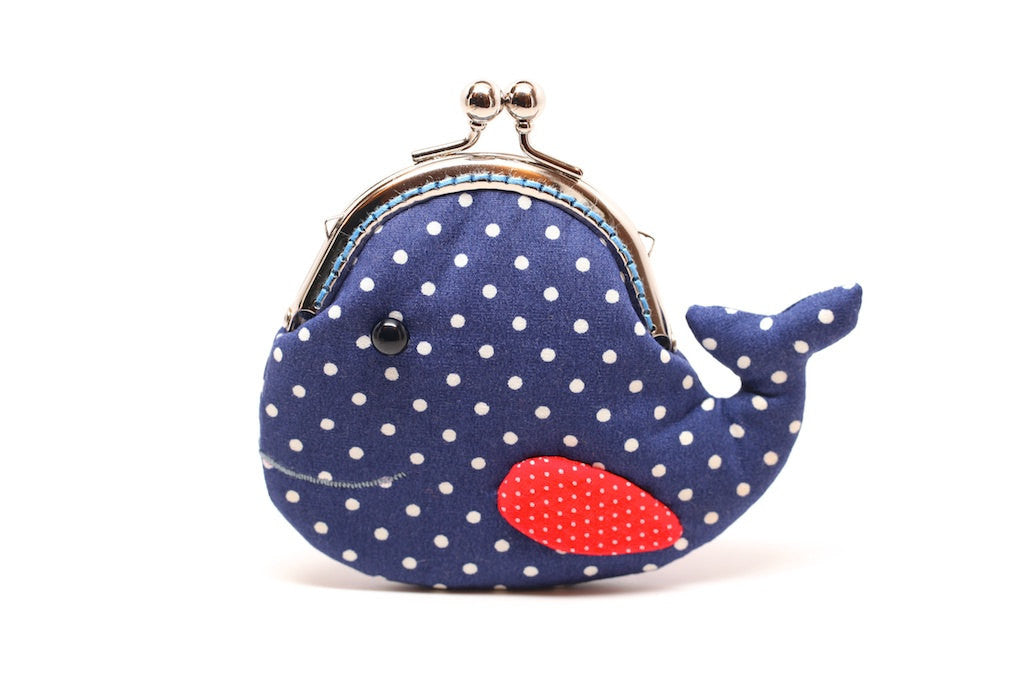 Cute navy blue whale clutch purse