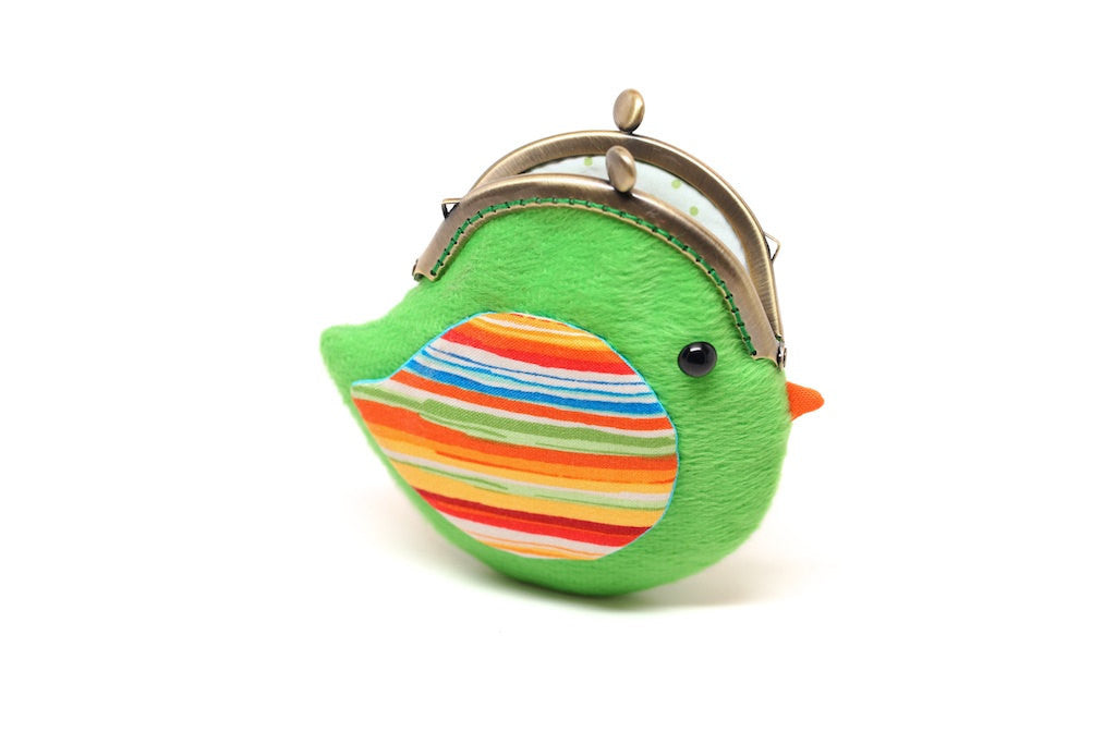 Cute green lovebird 'Martini' clutch purse