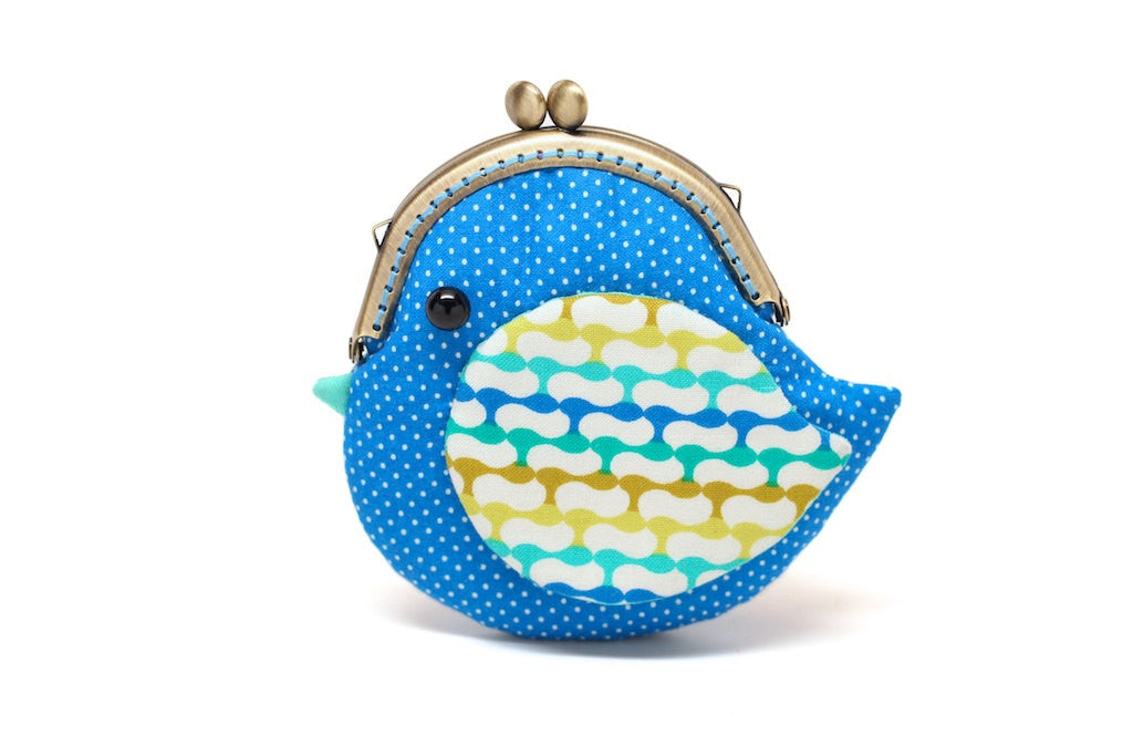 Cute ocean blue bird clutch purse