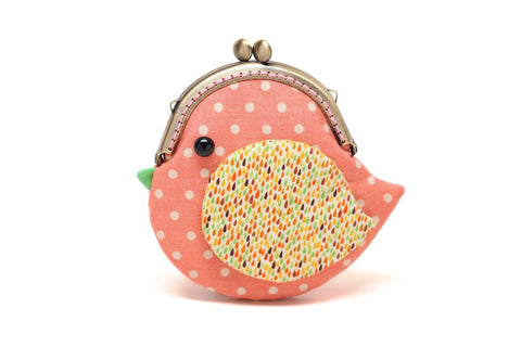 Cute coral pink bird clutch purse
