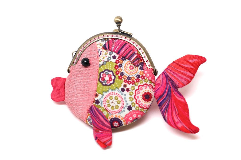 Tiny red goldfish clutch purse