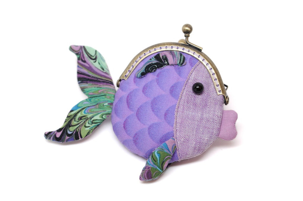 Tiny purple goldfish clutch purse