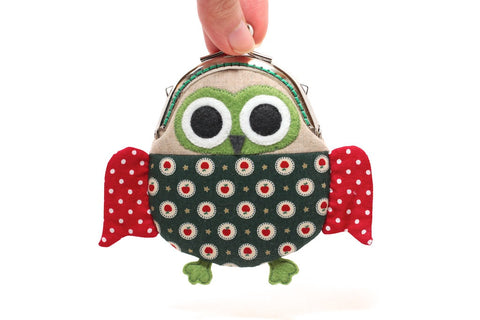 Cute starry green owl clutch purse