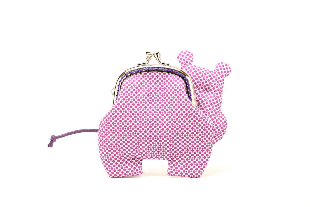 Little romantic purple hippo clutch purse