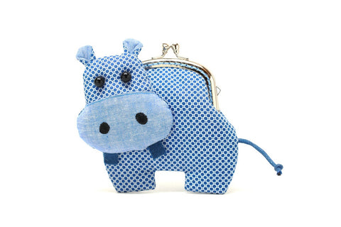 Little romantic blue hippo clutch purse