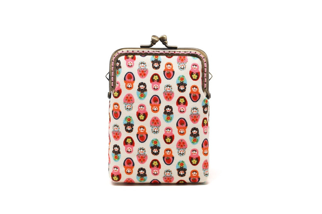 Tiny white Matryoshkas mini kisslock wallet