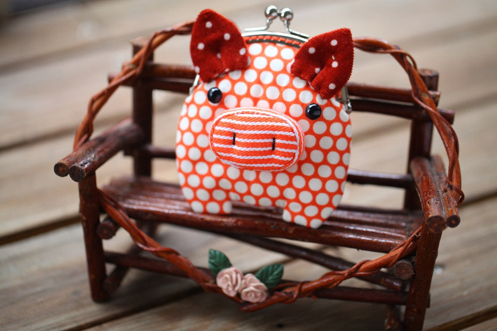 Little ochre orange piggy clutch purse