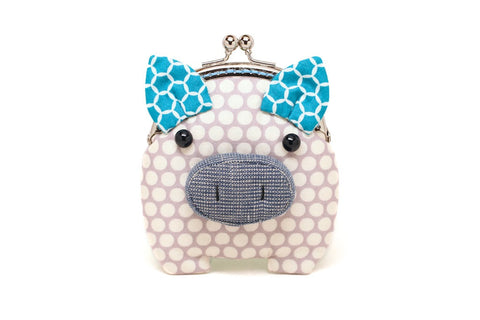 Little slate grey piggy clutch purse