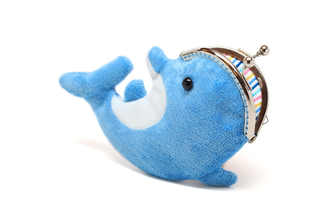 Deep sky blue dolphin clutch purse