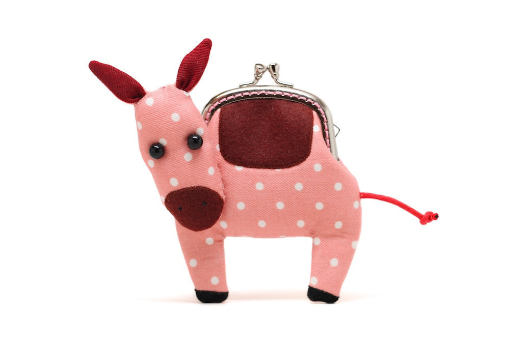 Little pastel pink donkey clutch purse