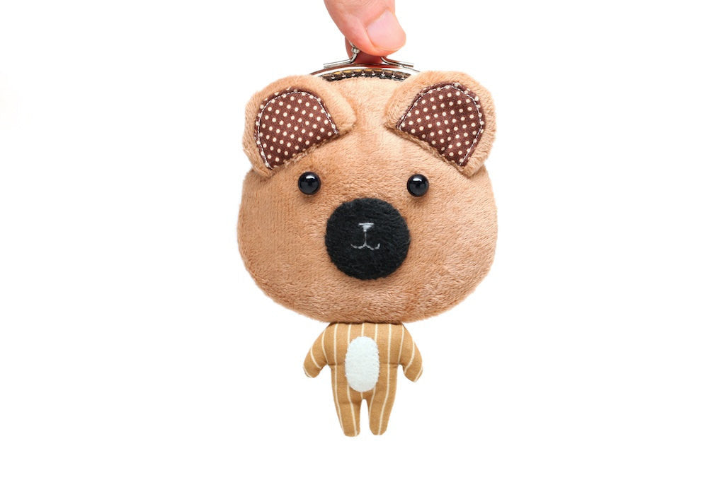 Little tan teddy bear clutch purse